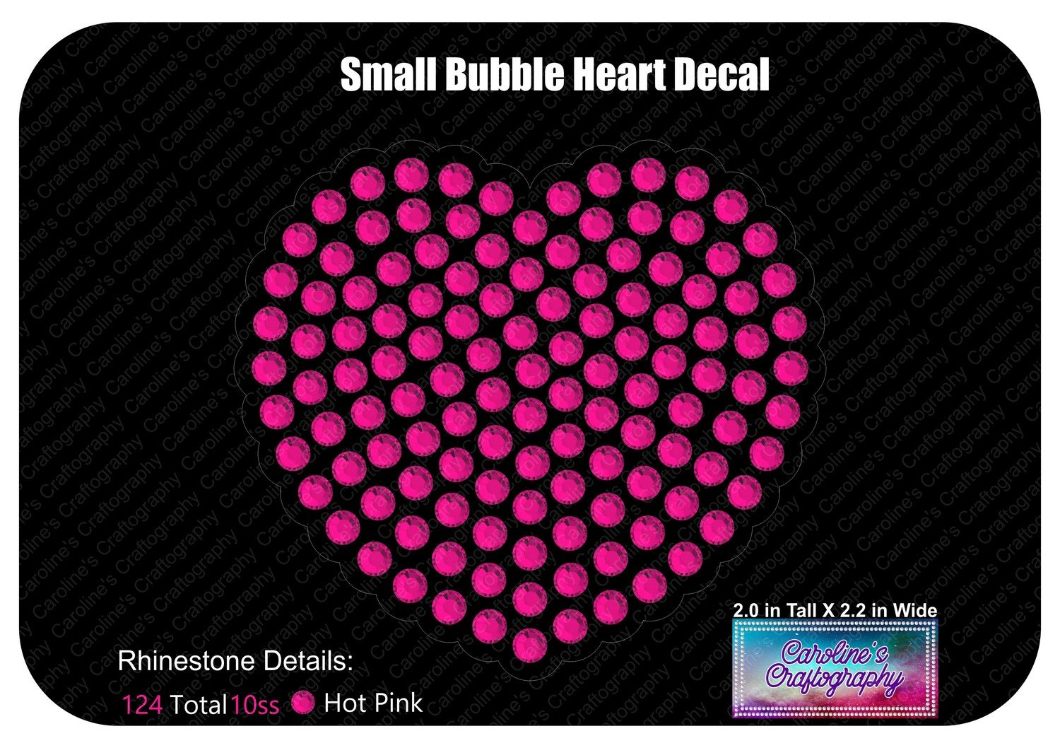 Small Bubble Heart Rhinestone Decal