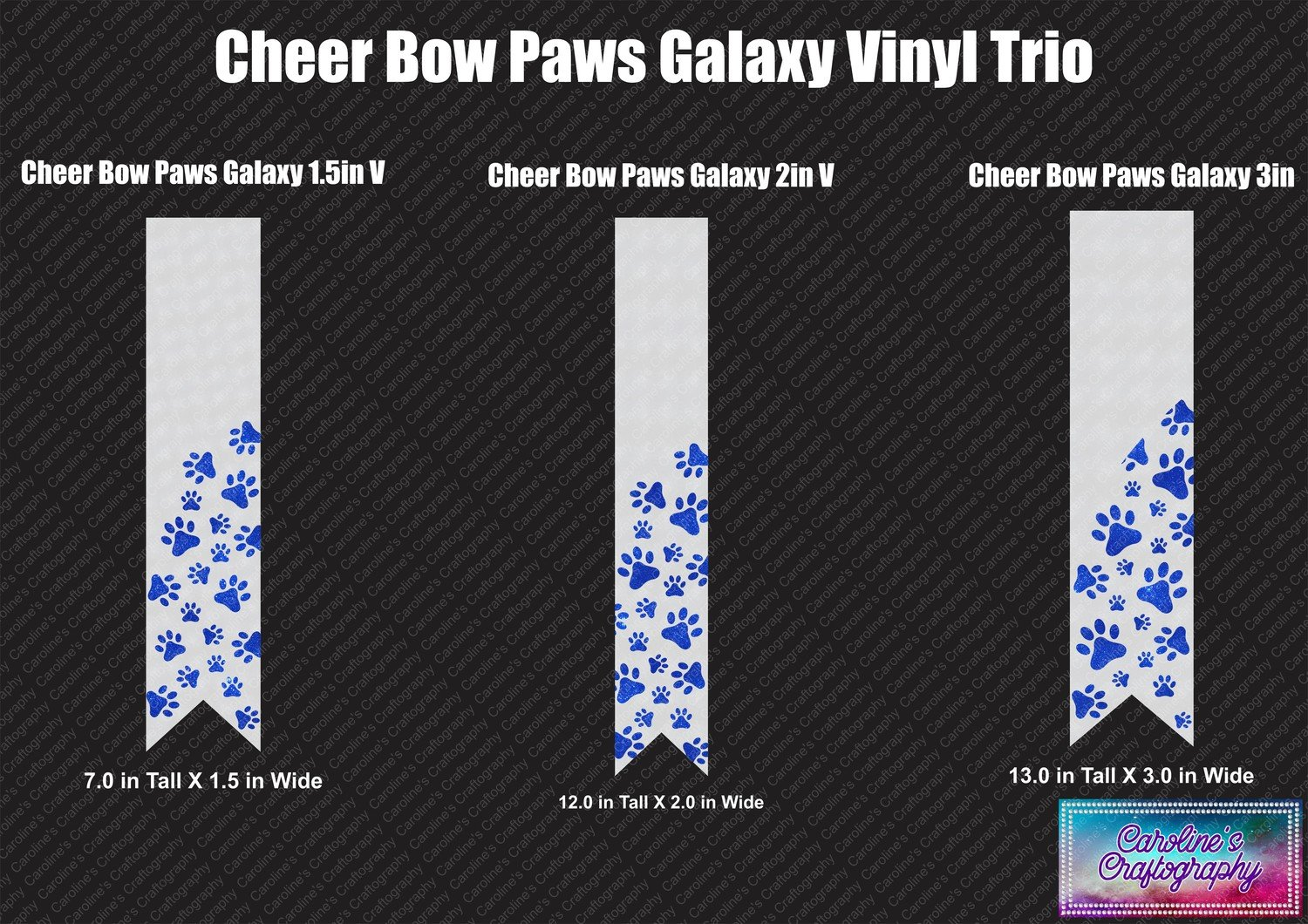 Paws Galaxy Cheer Bow Vinyl Trio