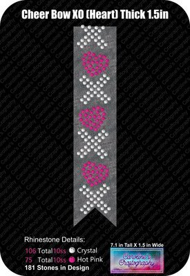XO Hearts Thick 1.5in Cheer Bow Stone