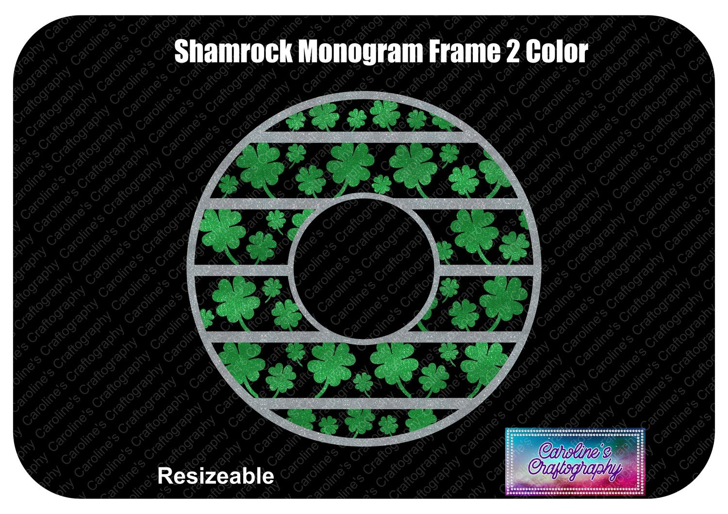 Shamrock Monogram Frame 2 Color Vinyl