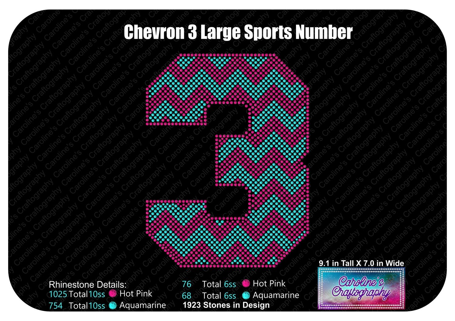 3 Chevron Large Sports Number