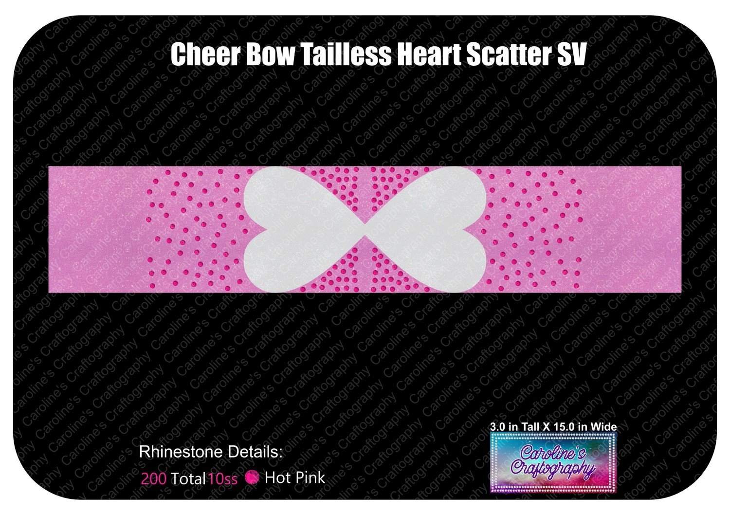 Tailless Cheer Bow Heart Scatter 3in Stone Vinyl