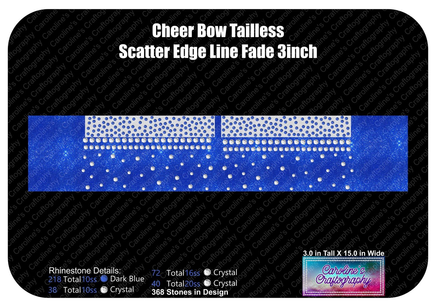 Tailless Cheer Bow Scatter Edge Line Fade 3in Stone Vinyl