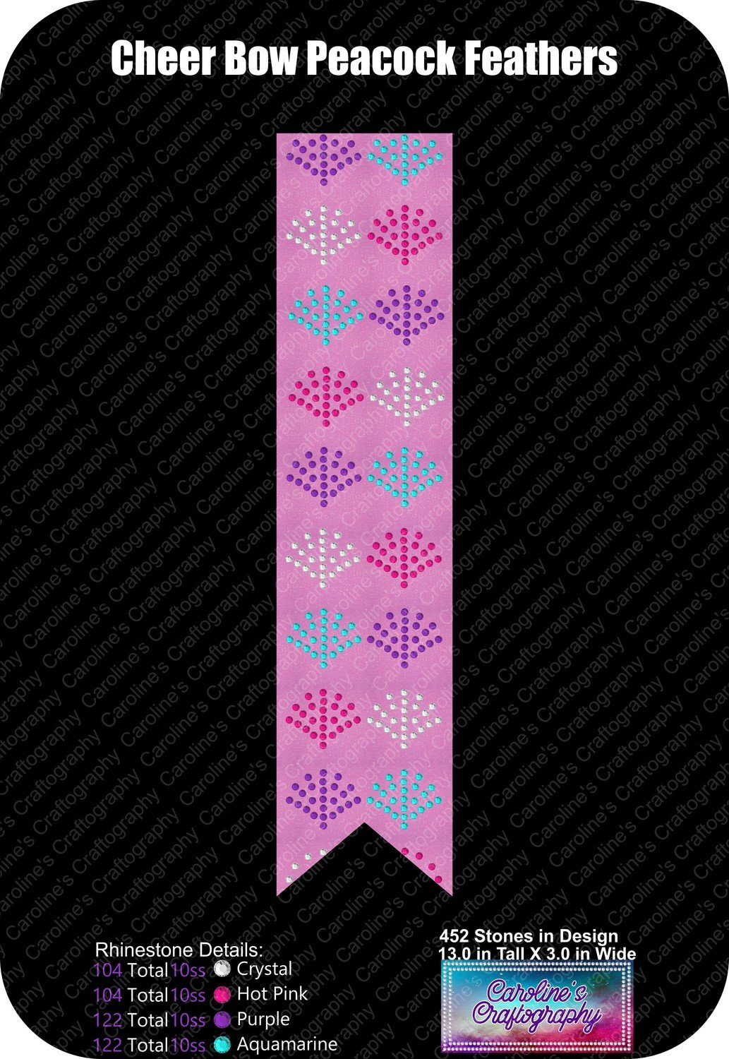 Peacock Feather Cheer Bow 3 inch