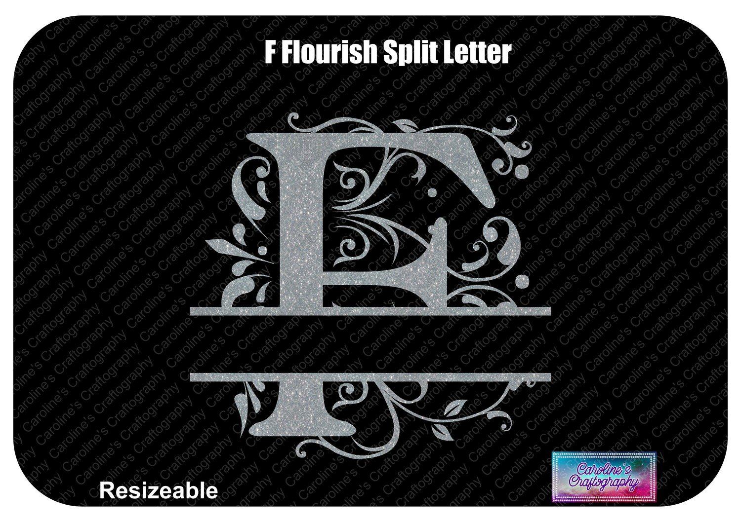 F Flourish Split Letter