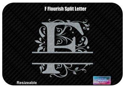 F Flourish Split Letter