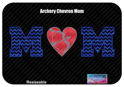 Archery Mom Chevron Letters Heart O