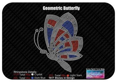 Geometric Butterfly Rhinestone Multi Color