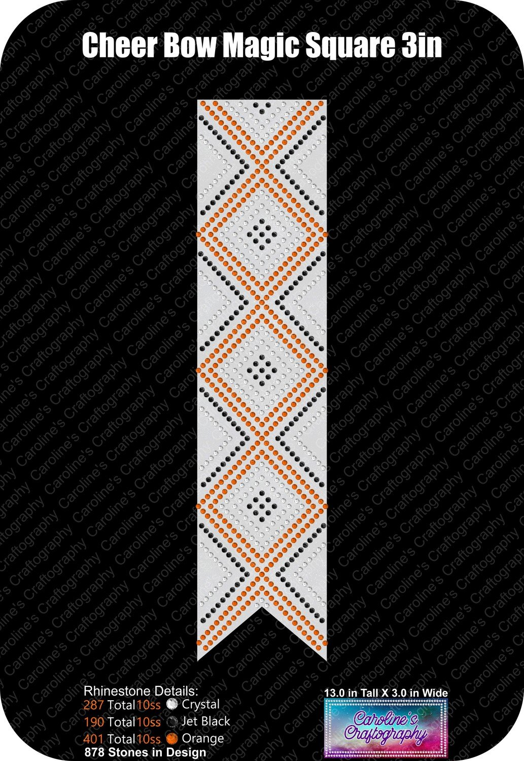 Cheer Bow Magic Square Stone 3in