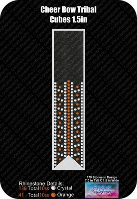 Cheer Bow Tribal Cubes 1.5 inch Rhinestone