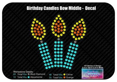Birthday Candles Decal Cheer Bow 3D add-on