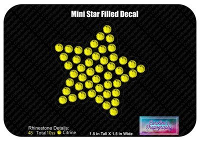 Mini Star Filled Decal Cheer Bow add-on 3D middle