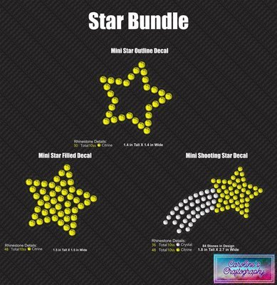 Star Decal Cheer Bow add-on 3D middle Bundle