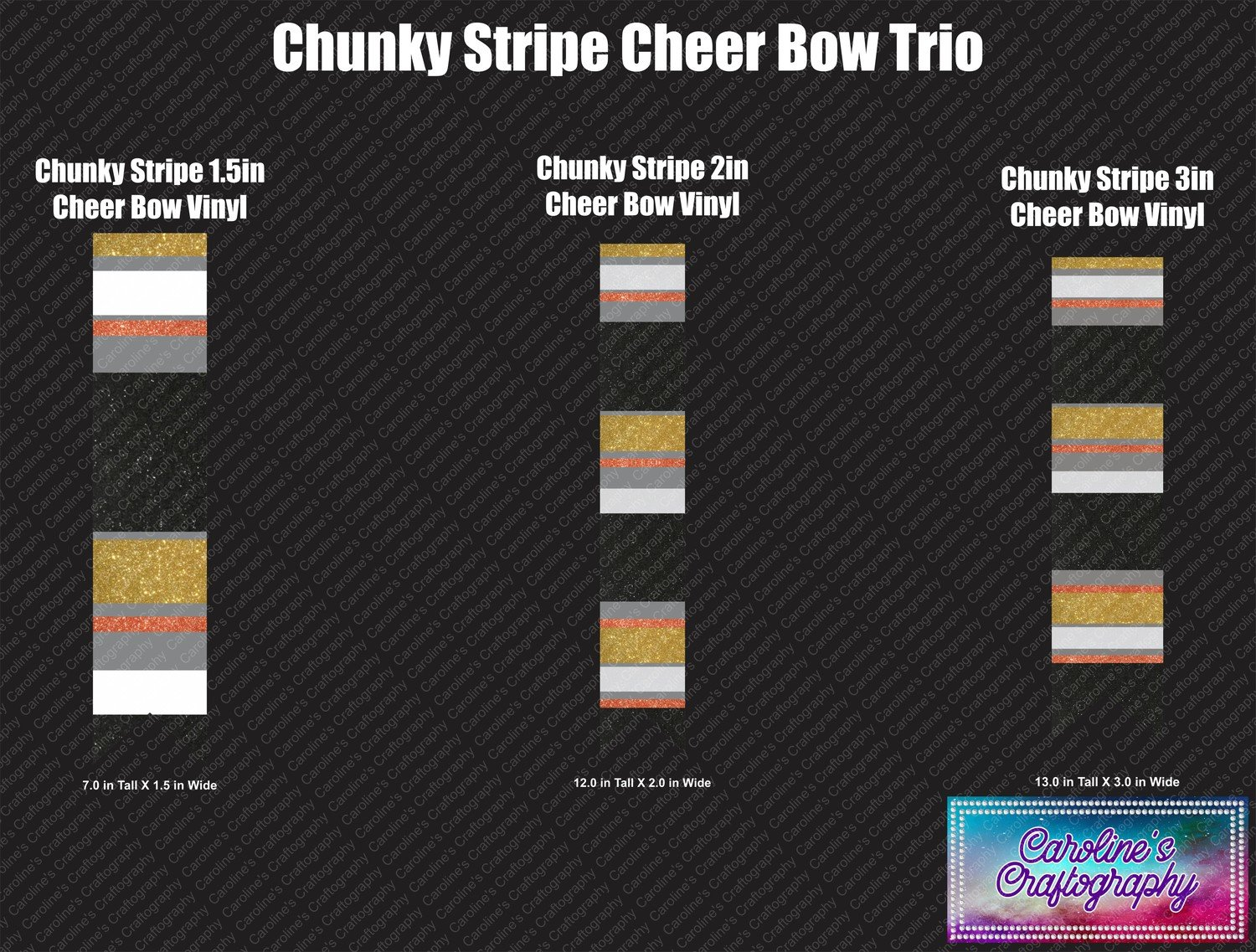 Cheer Bow Chunky Stripe Vinyl Trio