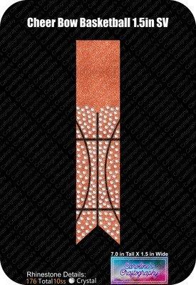 Cheer Bow Basketball 1.5in Rhinestone Vinyl