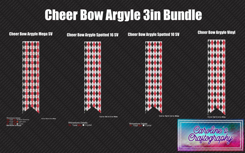 Cheer Bow Argyle 3in Bundle