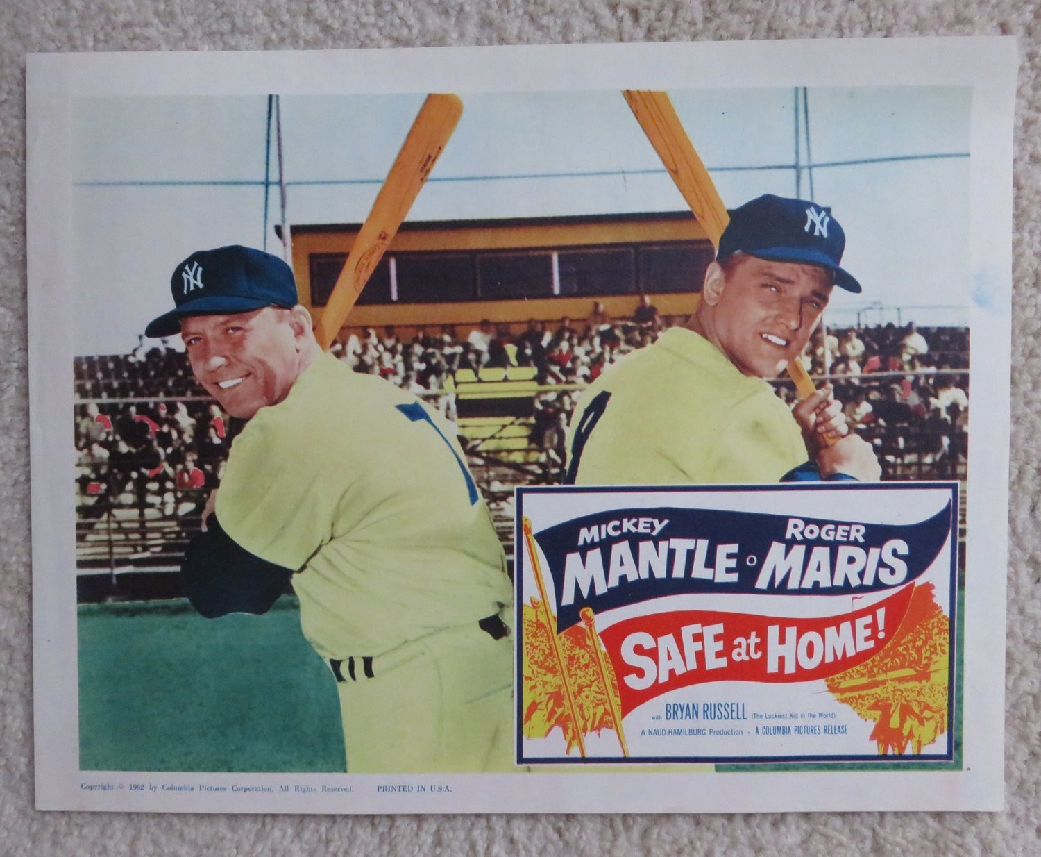 Itemm061962 Safe At Home Movie Lobby Card Mickey Mantle And Roger Maris
