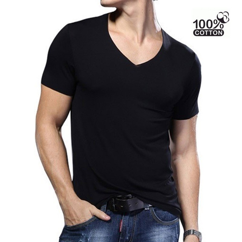 T-shirt Slim fit col-V - XXL