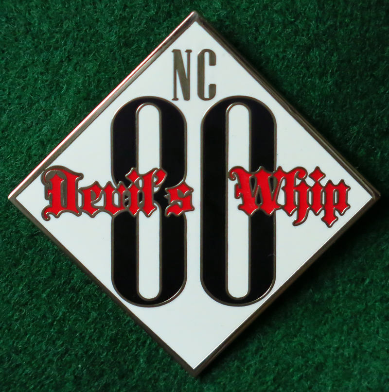 NC 80/Devil's Whip Text Biker Pin