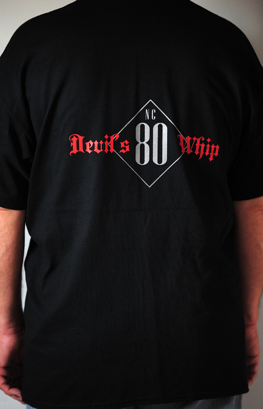 CLEARANCE - Devil's Whip Text & Road Number Black Short Sleeve Tee