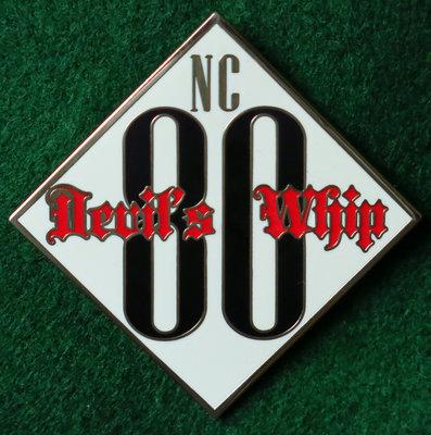 NC 80/Devil's Whip Text Biker Pin