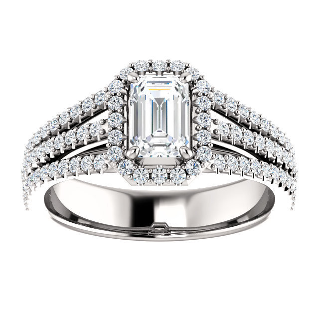 56fd6c9fddba9 1.21 ct. F/VS2 Emerald Diamond Engagement Ring - GIA Certified