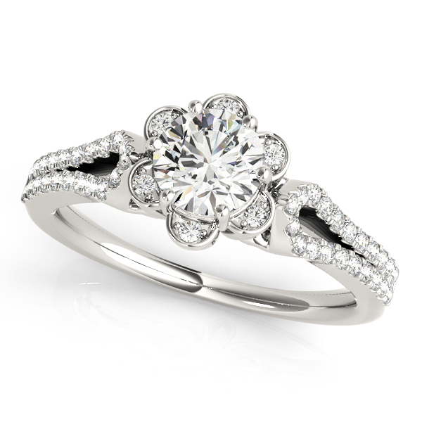 Alannis Round Halo Engagement Ring Setting 14 ctw MD51069