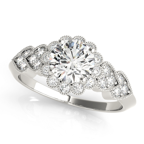 Hearts Round Halo Engagement Ring Setting 16 ctw MD50970