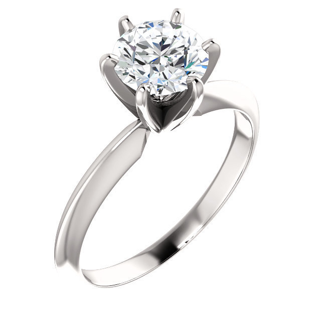 e8985b961a383 Light Six-Prong Round Solitaire Engagement Ring Setting MD140309L. 14k  White Gold