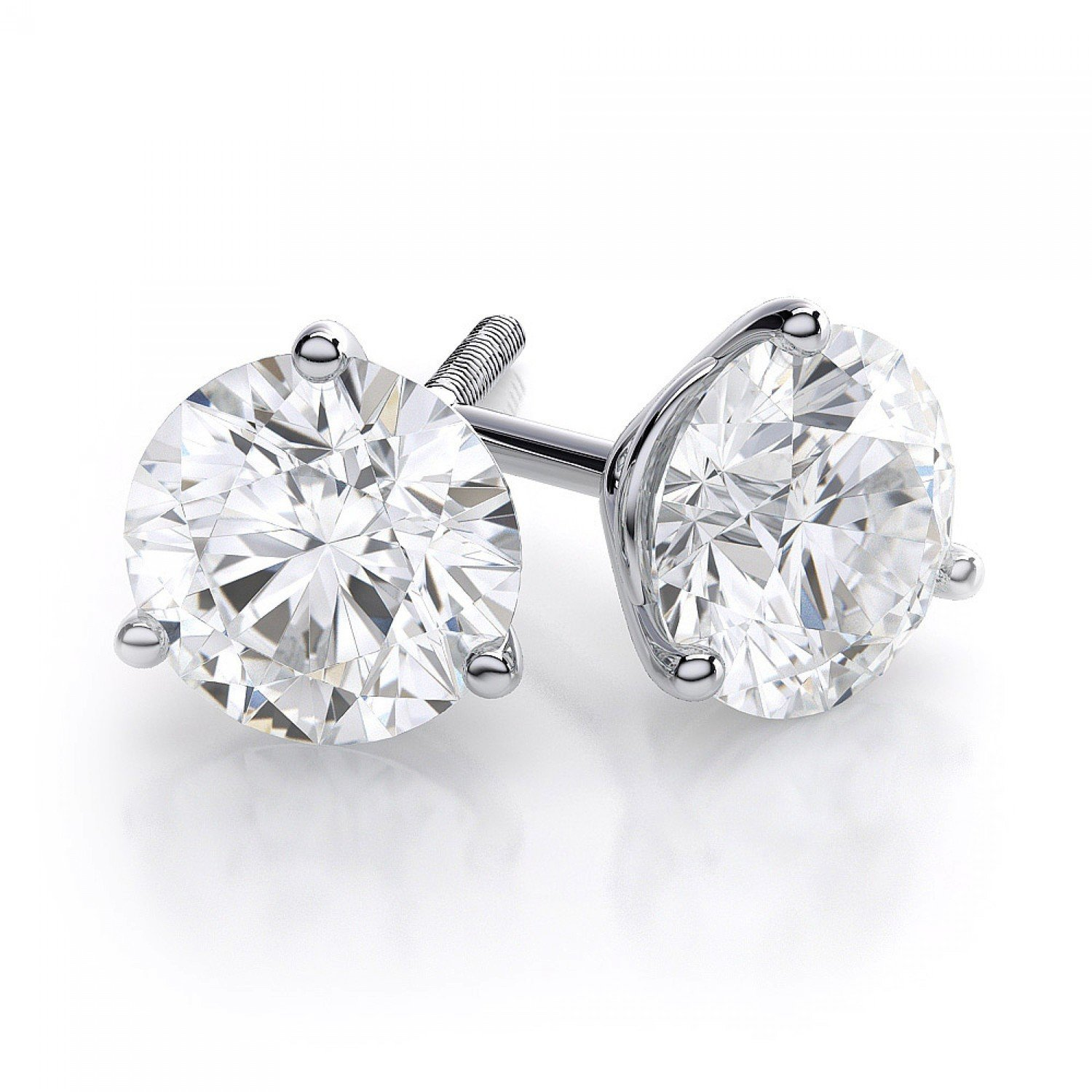 earrings diamond ctw square gold white princess stud product halo