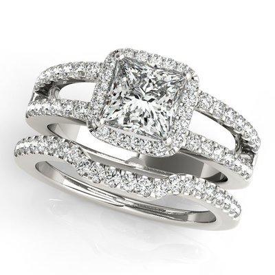 1.59 ct. D/VS2 Princess Split Shank Halo Wedding Set 14k White Gold