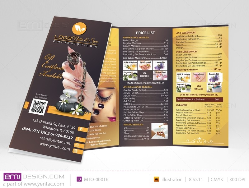 Menu-Take-Out Size 8.5x11 Tri-Fold Templates MTO-00016