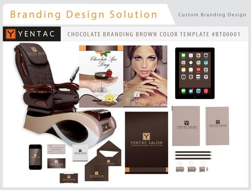 Chocolate Brand Brown Color - Stationary Mockup - YENTAC Nail Salon Templates:  BT000001