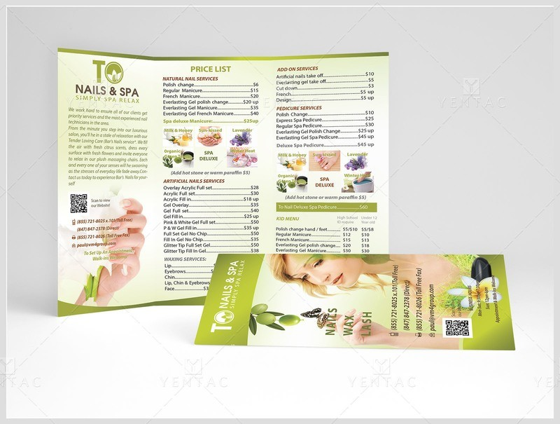 04.1 - Menu-Take-Out Size 8.5x11 Tri-Fold (Letter Size) - Nail Salon #3011 TO Brand