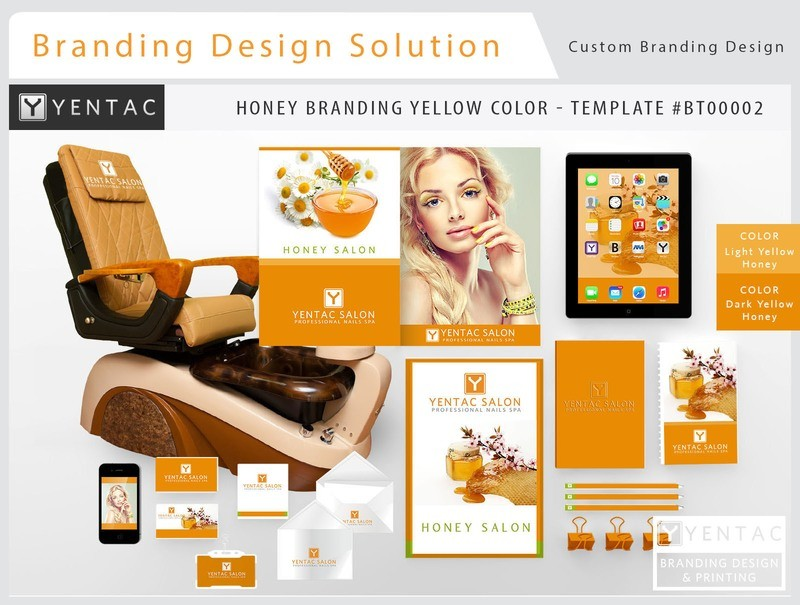 Honey Branding Yellow Color - Stationary Mockup - YENTAC Nail Salon Templates:  BT000002