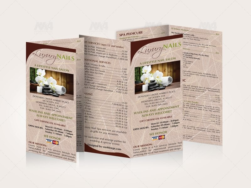 04.3 - Menu Take Out - Double Fold - Size 8.5x7.5 Tri-Fold Templates #00030
