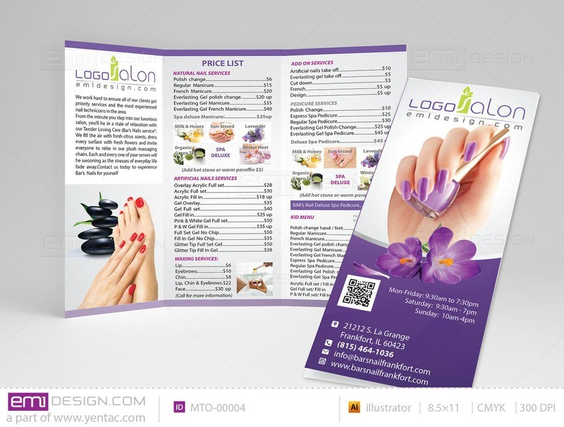 Menu-Take-Out Size 8.5x11 Tri-Fold Templates MTO-00004