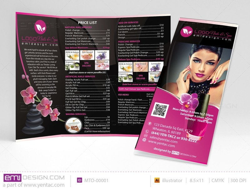 Menu-Take-Out Size 8.5x11 Tri-Fold Templates mto-00001
