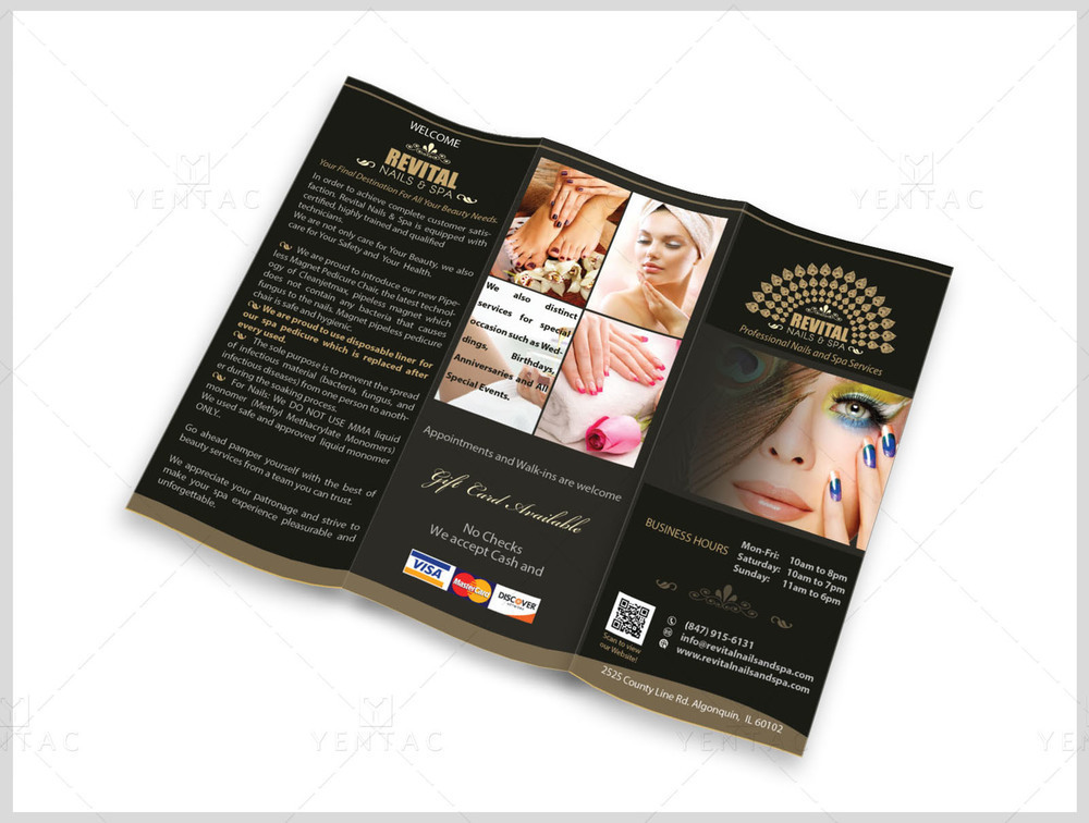 04.1 - Menu-Take-Out Size 8.5x11 Tri-Fold (Letter Size) - Nail Salon #5010 Revital Brand