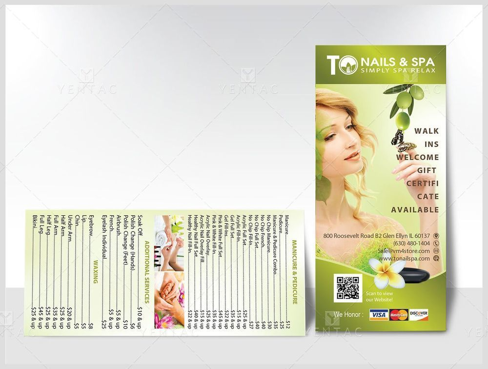 04.2 - Menu Take Out Branding - Rack Card - Size 4x9 - Custom Design & Printing