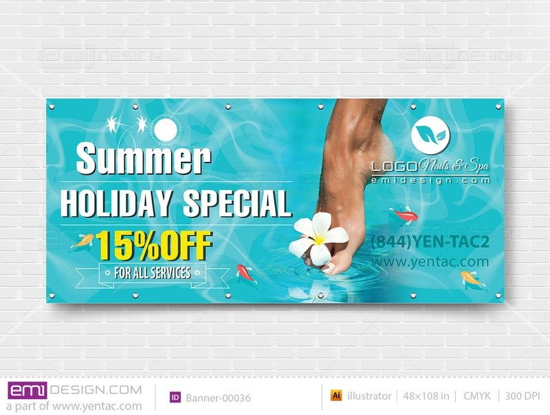 Banner - Outdoor Size 4x9 No Picture Template: 00036-B
