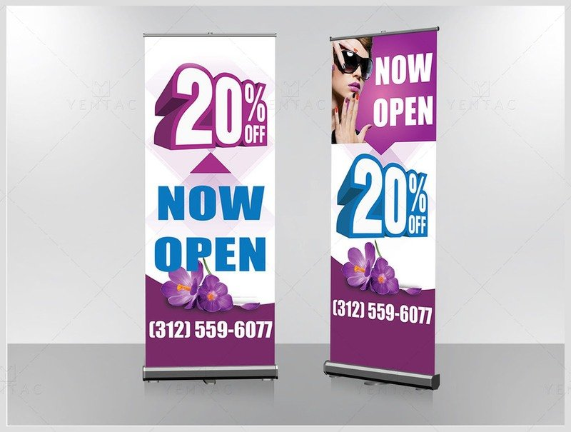 05 - Banner - Retractable Size 2x9 - Nail Salon #5117 LD Brand