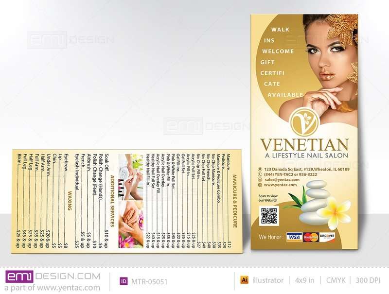 04.2 - Menu Take Out - Rack Card - Size 4x9 - Template MTR-05051