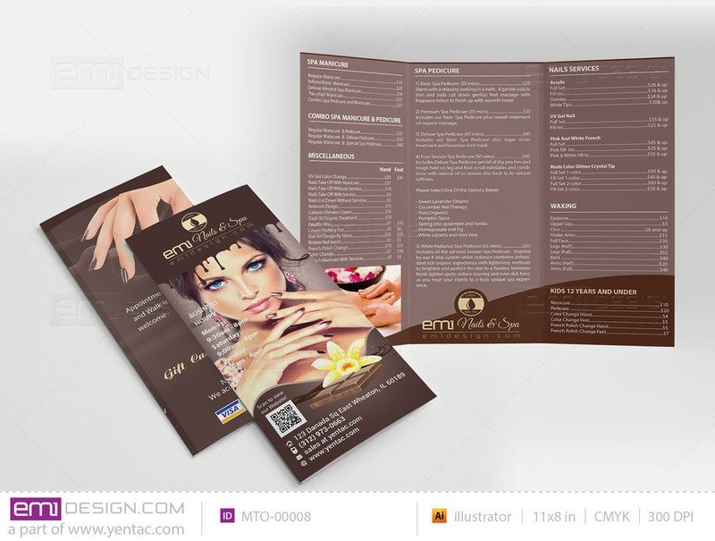 Menu-Take-Out Size 8.5x11 Tri-Fold Templates MTO-00008