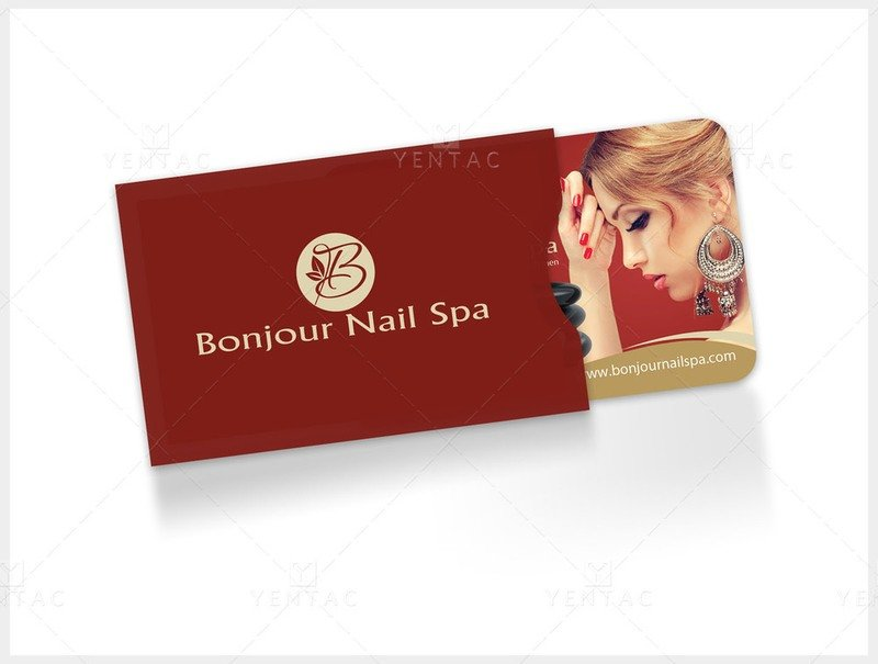 06 - Plastic Gift Card Sleeve - Bonjour Nails Spa #5070