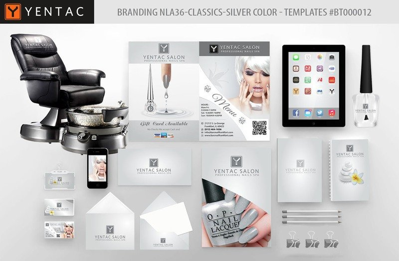 Silver Branding Color - Stationary Mockup - YENTAC Nail Salon Templates:  BT000012