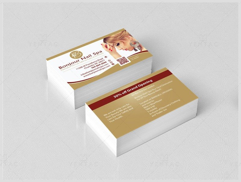 02 - Business Card - Bonjour Nails Spa #5070 Salon