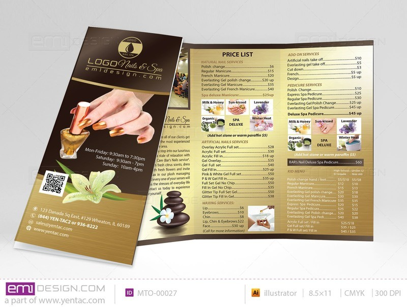 Menu-Take-Out Size 8.5x11 Tri-Fold Templates MTO-00006