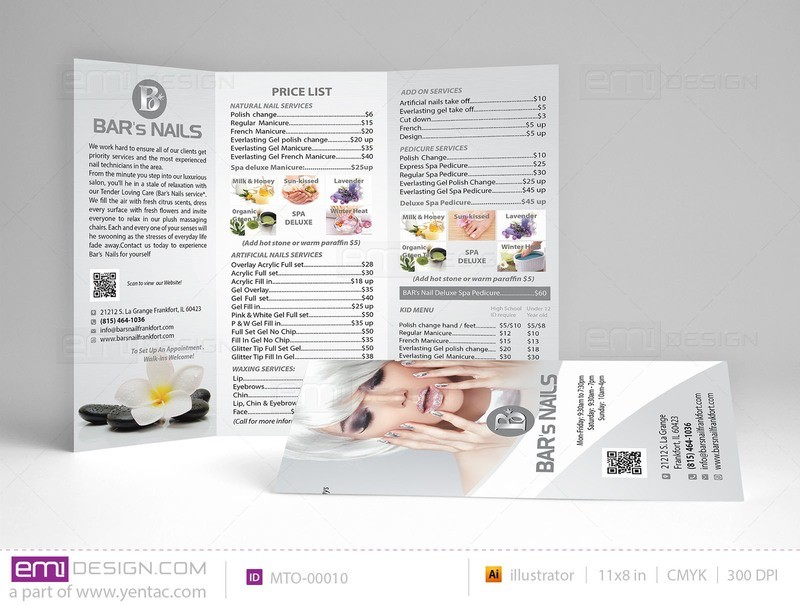 Menu-Take-Out Size 8.5x11 Tri-Fold Templates MTO-00010