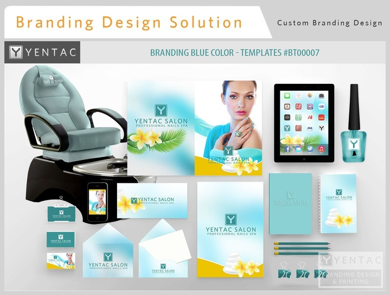 Blue Branding Color - Stationary Mockup - YENTAC Nail Salon Templates #BT00007